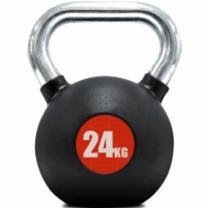 Kettle bell rubberized finish and chrome handle 24 kg.