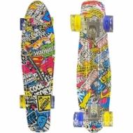 Skateboardul HIPSTER (penny board pennyboard) 22″ (56 cm.) cu imprimare color cu roti iluminate
