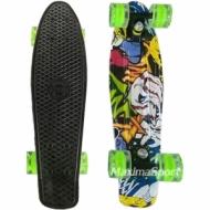 Skateboardul GRAFFITI (penny board pennyboard) 22″ (56 cm.) cu imprimare color cu roti iluminate