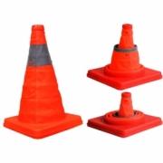Cone orange with reflektive line, foldable 30 cm.