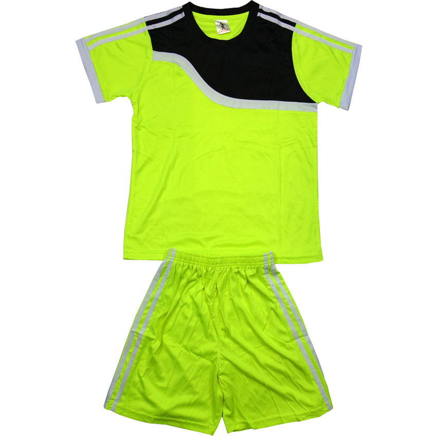 eb102547c65 Детски футболен екип фланелка с шорти електриково зелено и черно ...