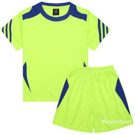 6e164fd936a Детски футболен екип фланелка с шорти електриково зелено и синьо ...
