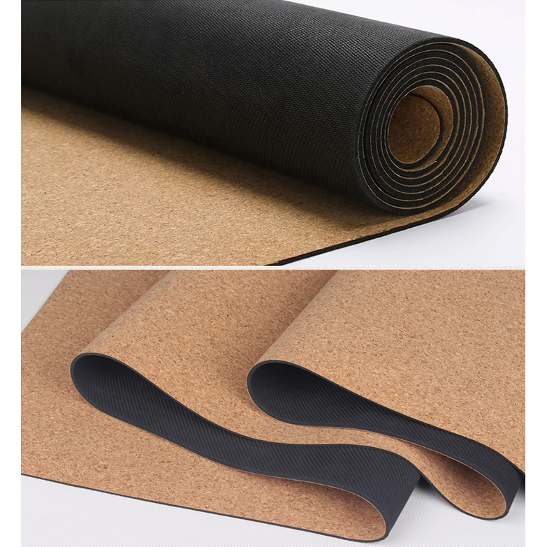 Yoga mat professional natural rubber and cork 183x66x0.5 cm.