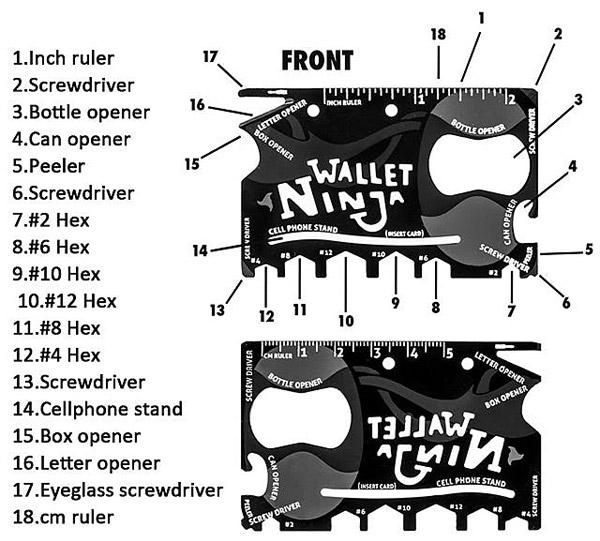 Многофункционален инструмент 18 в 1 Wallet Ninja